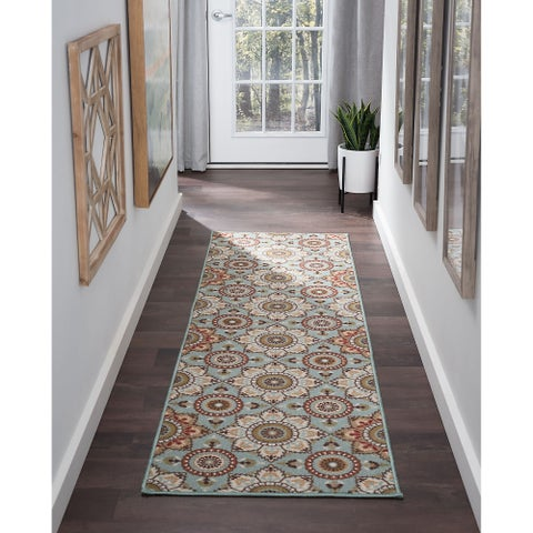 Alise Rugs Majolica Transitional Floral Runner Rug - 2'3 x 11'