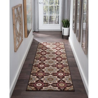 Majolica Brown Nylon Transitional Runner Rug - 2'3 x 11'