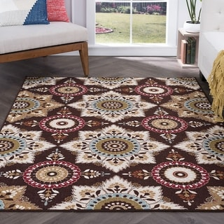Alise Rugs Majolica Transitional Floral Area Rug - 5' x 7'