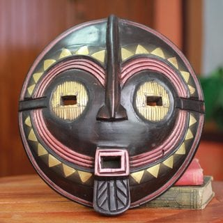 Handcrafted Sese Wood 'My True Love' African Wall Mask (Ghana)