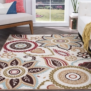 Majolica Transitional Cream and Multicolored Polypropylene Floral Area Rug (3'11 x 5'3)