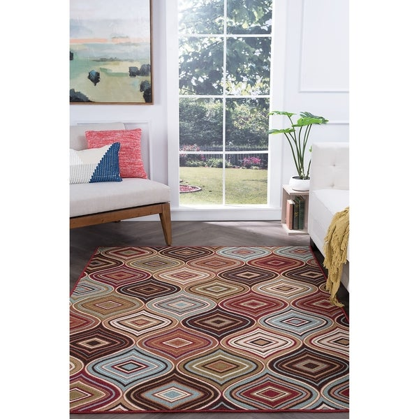 Alise Rugs Majolica Contemporary Geometric Area Rug - multi - 3'11 x 5'3