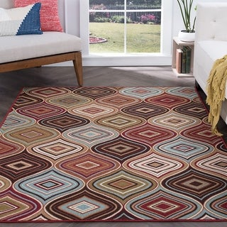 Majolica Contemporary Multicolor Nylon Area Rug (7'6 x 9'10')