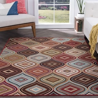 Majolica Contemporary Multicolor Nylon Area Rug (7'6 x 9'10')
