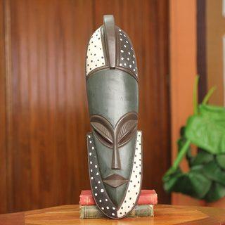 Handcrafted Sese Wood 'Ewuraba' African Wall Mask (Ghana)