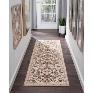 Majolica Transitional Cream and Multicolored Polypropylene Area Rug - 2'3 x 11'