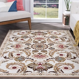 Majolica Cream Nylon Area Rug (3'11 x 5'3)