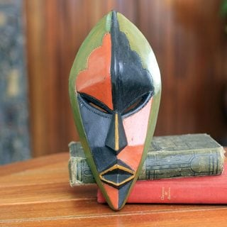 Handcrafted Sese Wood 'Handsome Ewe Elder' Africa Wall Mask (Ghana)