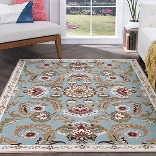 Majolica Transitional Seafoam Green Polypropylene Area Rug (3'11 x 5'3)