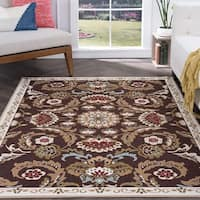 Majolica  Brown Nylon Transitional Area Rug - 6'7 x 9'6