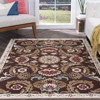 Majolica Brown Nylon Transitional Area Rug - 9'3 x 12'6