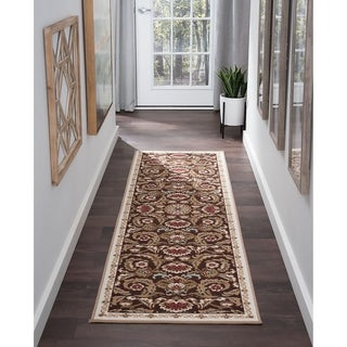 Majolica Transitional Brown Nylon Area Rug (2'3' x 11')