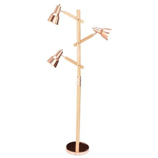 Urban Designs Cadiz Copper Wood Executive Floor Lamp