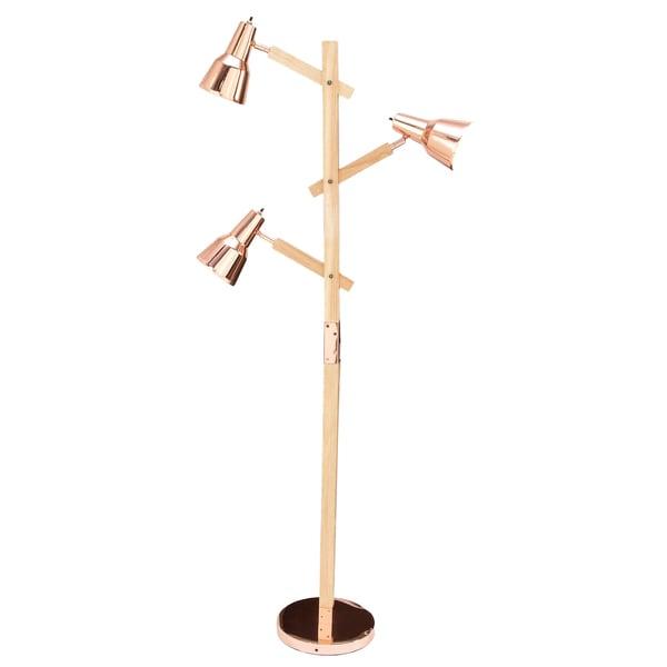 Urban Designs Cadiz Copper Wood Executive Floor Lamp