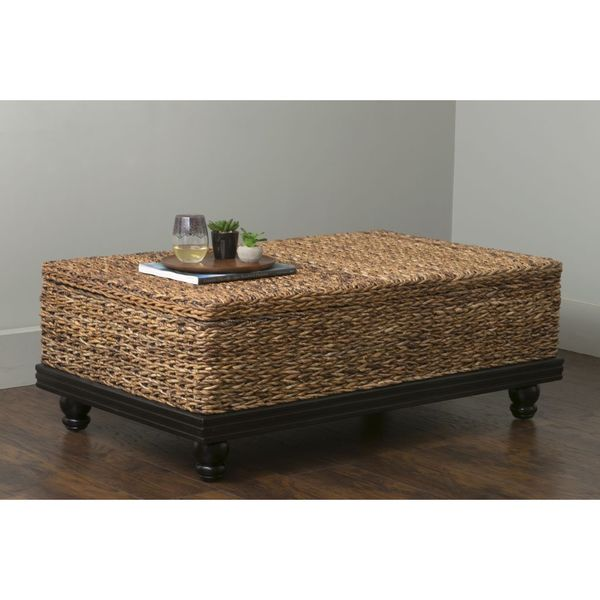 Extra Large Stone Coffee Table: East At Main's Arbor Brown Abaca Textured Coffee Table