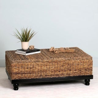 East At Mainu0027s Arbor Brown Abaca Textured Coffee Table