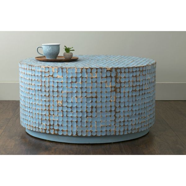 East At Mainu0026#x27;s Cummings Blue Coconut Shell Inlay Round Coffee Table