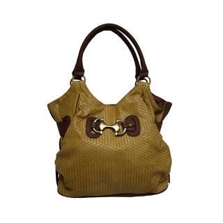 Donna Bella 'Jordana' Shopper-style Tan Faux Leather Tote Bag