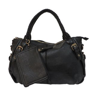 Donna Bella Jaelynn Black Faux Leather Tote Bag