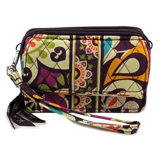 Vera Bradley Women's Plum Crazy Purple Fabric Wristlet Handbag