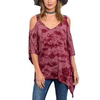 JED Women's Blue and Plum Polyester Blend Cold Shoulder Tie Dye Top