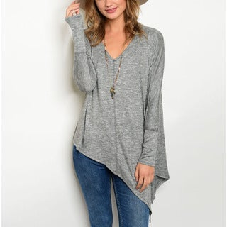 JED Women's Asymmetric Long-sleeve V-neck Knit Top