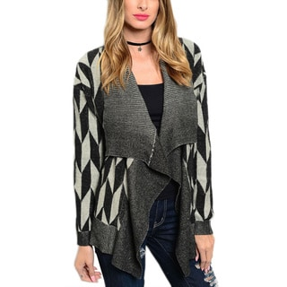 JED Women's Heavy-knit Waterfall Long-sleeve Geometric Print Charcoal Cotton Cardigan