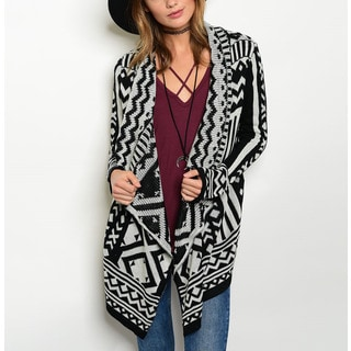 JED Women's Black and White Acrylic Tribal-print Sweater Cardigan