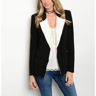 JED Women's Black and White Polyester Wide-lapel Power Blazer