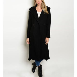 JED Women's Black Polyester Thick Winter Military Long Coat