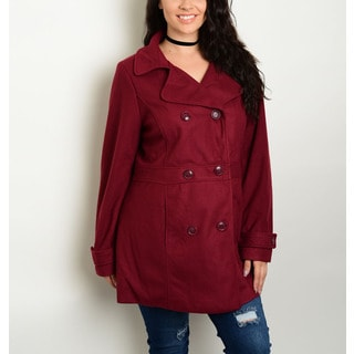 JED Women's Burgundy Polyester Plus Size Peacoat