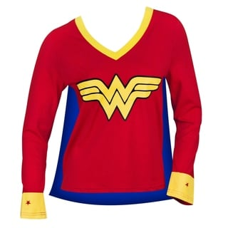 Women's Wonder Woman Cape Red Cotton and Polyester Varsity Tee Shirt