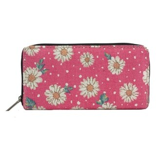 Alfa Pink Faux Leather/Nylon/Metal/Polyester Double-side Digital Print Daisy Pattern Traditional Wallet