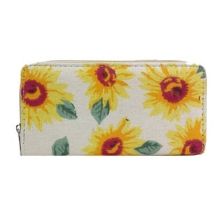 Alfa Traditional Yellow Flower Faux Leather Wallet