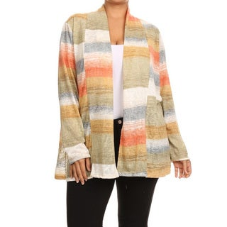 Women's Multicolored Rayon and Spandex Plus Size Striped Cardigan