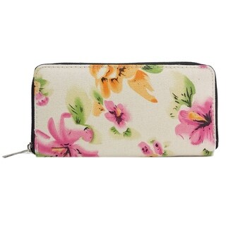 Alfa Traditional White Floral Faux Leather Wallet
