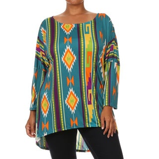 Women's Tribal Inspired Polyester/Spandex Plus-sized Tunic