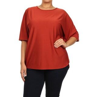 Women's Polyester and Spandex Plus Size Tie Dye Tunic (Option: Tan)