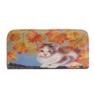 Alfa Multicolor Faux-leather/Nylon/Metal/Polyester Digitally Printed Traditional Cat in a Tree Wallet