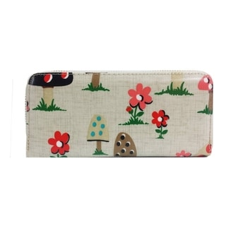 Alfa Traditional Garden Mushrooms Faux Leather/Nylon/Metal/Polyester Wallet