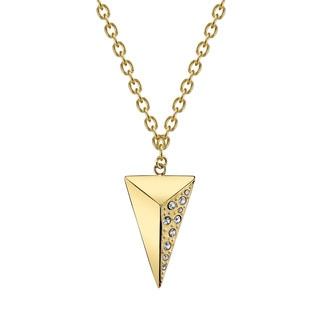 Brass Cubic Zirconia Pyramid Necklace