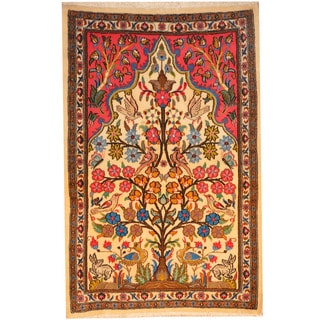Herat Oriental Persian Hand-knotted Kashan Wool Rug (2'7 x 3'10)
