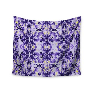 Kess InHouse Dawid Roc 'Tropical Orchid Dark Floral 2' Purple/Lavender Wall Tapestry