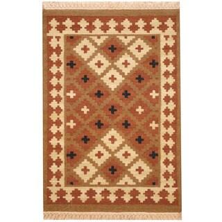 Herat Oriental Afghan Hand-woven Mimana Kilim Wool Rug (2'7 x 3'10)