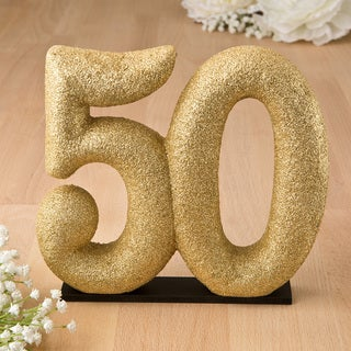 50th Theme Gold-tone Glitter Porcelain Centerpiece/Cake Topper