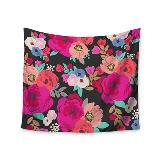 Kess InHouse Crystal Walen 'Sweet Pea' Black Floral Wall Tapestry