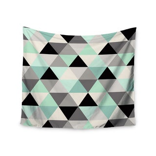 Kess InHouse Crystal Walen 'Triangle Geo Mint' Teal/Black Polyester Wall Tapestry