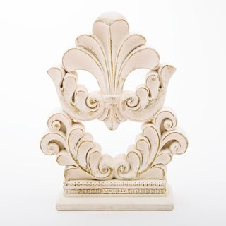 Flourish Design Fleur De Lis Off-white and Gold-tone Porcelain Cake Topper/Centerpiece