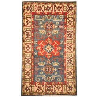 Herat Oriental Afghan Hand-knotted Tribal Kazak Wool Rug (2'8 x 4'6)