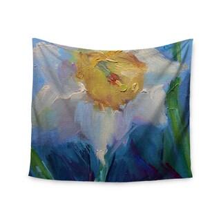 Kess InHouse Carol Schiff 'Daffodil Day' Yellow Blue Polyester Wall Tapestry